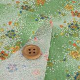 ちりめん生地 流れる桜(黄緑) 10cm単位 切り売り