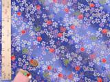 ちりめん生地・桜とリボン蝶(青)