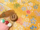 ちりめん生地・桜とリボン蝶(黄色)