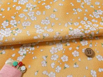 ちりめん生地・桜ひらり(黄色)