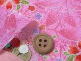 ちりめん生地・麻葉地に桜楓(ピンク)