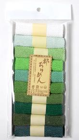 レーヨンちりめん・緑系無地カットクロスセット(22×16.5cmが10枚入)