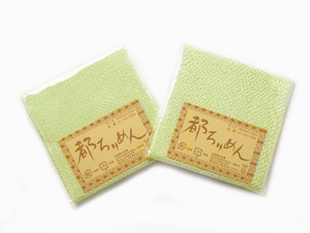 ちりめんカットクロス・無地(白緑)23×33cm