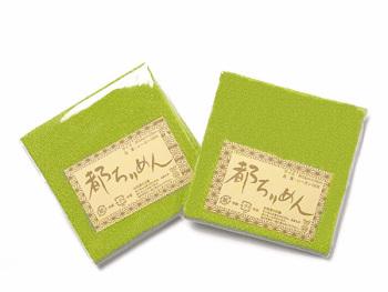 ちりめんカットクロス・無地(黄緑)23×33cm