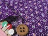 ちりめん生地・モダン麻の葉(紫)
