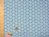ちりめん生地・麻の葉の万華鏡(青)