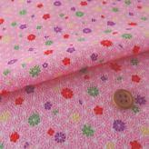 ちりめん生地 麻の葉に小花(ピンク)