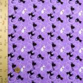 ちりめん生地 おしゃまなネコ(紫)