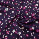 ちりめん生地 二色梅と松葉(深紫)