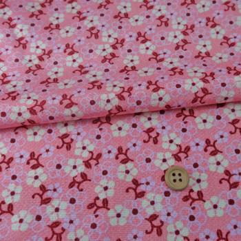 ちりめん生地 つる花(ピンク)