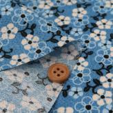 ちりめん生地 つる花(ブルー)