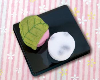 ちりめんキット・和菓子マグネット 桜餅と豆大福