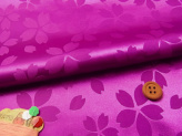 ポリエステルりんず・リバーシブル桜柄(赤紫)