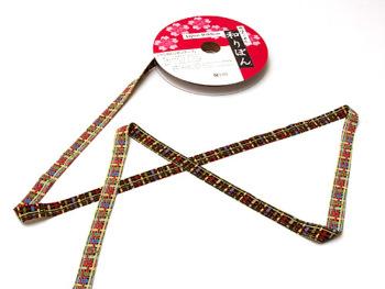 和りぼん1.5cm幅・かごめ柄(黒)