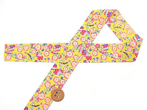和りぼん3cm幅・桜に蝶(黄色)