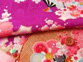 りんず60cm幅・扇に菊と牡丹(京紫)