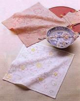 刺し子キット・花ふきん・水辺の桜(白・渋ピンク)