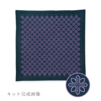 刺し子キット・一目刺しの花ふきん 鉄線-クレマチス-(藍)
