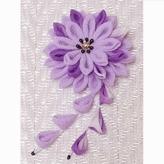 つまみ細工のブローチ 美濃菊(藤色)