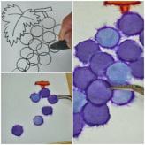 和紙ちぎり絵キット・ミニ壁掛け「葡萄」