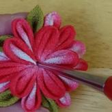 一越ちりめんで作る つまみ細工キット・お花のキーホルダー4色セット【限定販売】