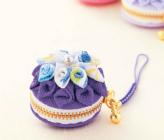 ちりめんつまみ細工キット・マカロンのコインケース(紫)