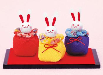 京ちりめんキット・ウサギのお手玉(赤青黄)
