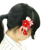 つまみ細工キット・彩花ブローチ(赤)