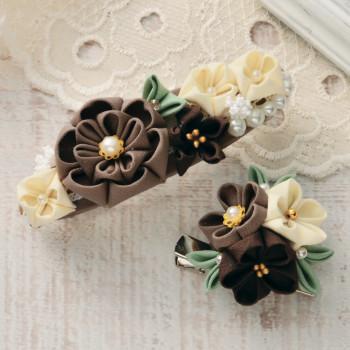 手作りキット 普段づかいのつまみ細工 バレッタとブローチ(チョコレート)
