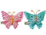 キット・メタリックヤーンで作る きらきら蝶のブローチ(ピンク・ブルー)