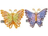 キット・メタリックヤーンで作る きらきら蝶のブローチ(オレンジ・パープル)