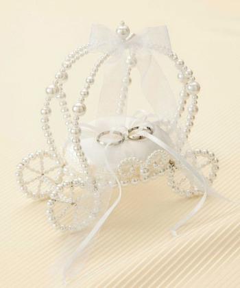 リングピロー手作りキット(縫製済ピロー入)エターナル 馬車型・白