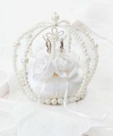リングピロー手作りキット(縫製済ピロー入)エターナル 巻きバラのクラウン・白