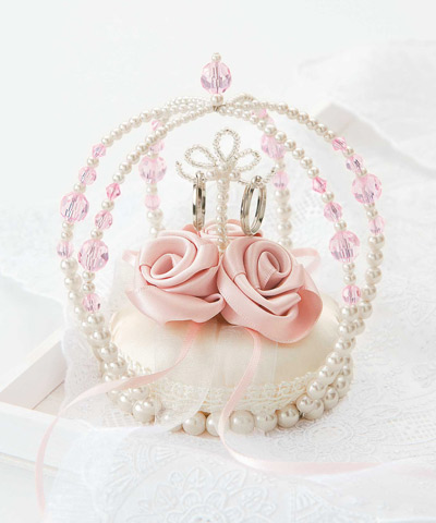 リングピロー手作りキット(縫製済ピロー入)エターナル 巻きバラのクラウン・ピンク