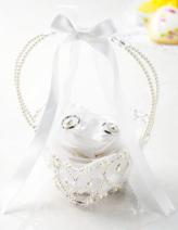 リングピロー手作りキット(縫製済ピロー入)フィオーレ・リボンバスケット ホワイト