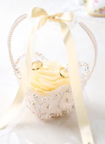 リングピロー手作りキット(縫製済ピロー入)フィオーレ・リボンバスケット シャンパン