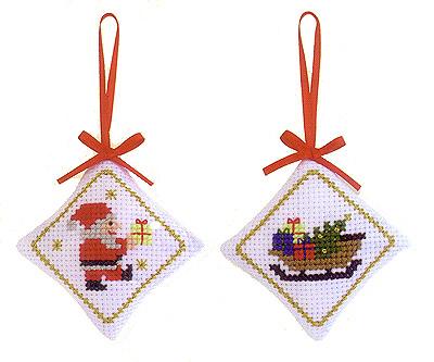 キット・クロスステッチ クリスマス・オーナメント サンタ&ソリ
