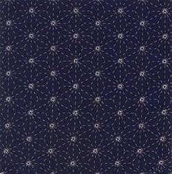 刺し子布(プリント)・夢ふきん・紺 麻の葉