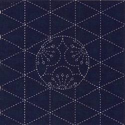 刺し子布(プリント)・夢ふきん・紺 梅紋